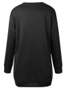 Mode Frauen Plain Baggy Lange O Hals Taschen Jumper Lange Sweatshirt