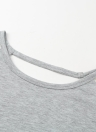 Femmes Crochet Shirt manches longues évider dentelle lâche Casual Pull Top T-shirt dos nu