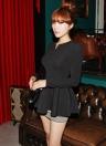 Женщины Tops V Шея длинный слоеный рукав Peplum Ruffle Hem Zipper T-shirt