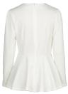Women Tops V Neck Long Puff Sleeve Peplum Ruffle Hem Zipper T-shirt