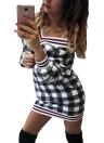 Sexy Femmes Plaid Imprimer rayé Deep V-Neck Mini Dress
