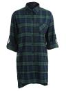 Women Over sized Plaid Tartan Shirt Buttons Pocket Turn-down Collar Long Sleeve Baggy Check Blouse