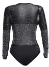 Sexy Bodycon Women Bodysuit Mesh Rhinestone Deep V-образным вырезом с длинными рукавами Клубный комбинезон