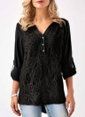 Women Chiffon Lace  V Neck Roll-up Long Sleeves Shirt Blouse