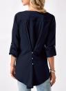 Blusa de manga larga con cuello en V de encaje de gasa de las mujeres