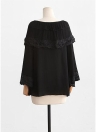 Women Plus Size Top Scalloped Lace Ruffles Tied Front Flared Bell Sleeves Blouse