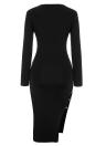 Cut Out Side Deep V Neck Long Sleeves Bodycon Midi High Slit Dress