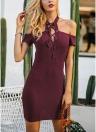 Lace Up Halter Cold Shoulder Short Sleeve Dress