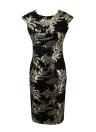 Sequin Leaves Vintage Short Sleeve Deep V Back Pencil Midi Dress
