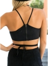 Women Faux Suede Crop Top  Cross Bandage  Zip Short Blouse Top Streetwear