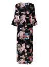 Women Dress Floral Print  Flare Sleeves High Split Belt Bohemian Maxi Dress