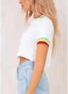 Camiseta corta de mujer con cuello redondo, manga corta a rayas con cuello en V, blusa corta casual con cuello en V