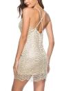 Sequined Glitter Deep V Sleeveless Spaghetti Strap Backless Bodycon Mini Dress