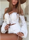 Off the Shoulder Crochet Lace Bandage Lace Up Hollow Out Crop Top