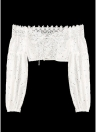 Au large de l'épaule Crochet Dentelle Bandage Lace Up creux Crop Top