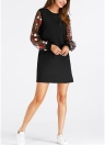 Цветочная вышивка Mesh с длинным рукавом Mini A Line Элегантное одношнее платье
