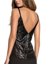 Sequins Tank Top V Neck Spaghetti Strap Solid Metallic Shiny Vest