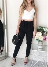 Crop Top V Neck Vest Slim Long Pants Solid Suits