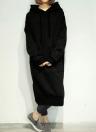 Frauen lose mit Kapuze Kleid Solid Langarm Taschen Split Long Sweatshirt