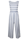 Sexy Women Stripe sin mangas sin respaldo cremallera Shirred pierna ancha Playsuit mono