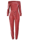 Sexy Women Velvet Off Shoulder Long Sleeve Warm  One Piece Bodysuit Overalls