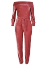 Sexy Women Velvet Off Shoulder Long Sleeve Warm One Piece Bodysuit Overalls