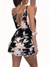 Mujeres atractivas estampado floral hombro frío que cuelga V cuello del mini vestido del resbalón del hombro