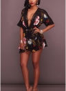 Women Sexy Pluse Size Floral Print Plunge V Crochet Lace Cut Out Backless Elastic Waist Tie Playsuit