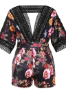 Mulheres Sexy Pluse Tamanho Floral Print Plunge V Crochet Lace Cut Outless Elastic Waist Tie Playsuit