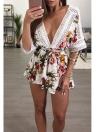Las mujeres atractivas Pluse Size Floral Print Plunge V Crochet Lace Cut Out sin respaldo Elástico cintura lazo Tie Playsuit
