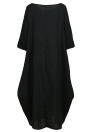 Vintage Women Loose Dress Solid Color Pocket Maxi Gown One-Piece