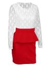 Sexy Women Bandage Bodycon Dress Lace Splice Peplum Cintura Round Neck Long Sleeve Evening Party Mini Dress Clubwear
