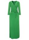Sexy Women Maxi Dress Deep V Neck Side Split Three Quarter Sleeve Solid Slim Elegant Belted Long Dress