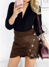 Moda Mulheres Faux Suede Alto cintura Lace Splice Button Preppy Bodycon Mini Skirt