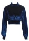 Women Crop Top Velour Solid High Turtle Neck Drop Shoulder Long Sleeve Casual Blouse