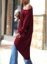 Las mujeres sueltan un hombro cuello redondo asimétrico cruzado más sumergido más largo atrás suéter irregular de manga larga