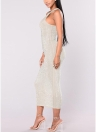 Sexy Women Sparkling Metal Halter Neck Sleeveless Hollow Out Bodycon A-Line Dress