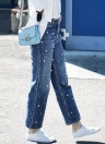 Fashion Women Denim Jeans Pearl Beads High Waist Casual Wide Long Leg Pants