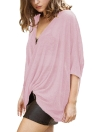 Sexy Women Loose Knitted Tops Solid Deep V Neck Cross Over Drape Irregular Batwing Sleeve Over sized Blouse
