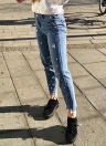 Женщины Pearl Embellished Ripped Jeans Denim Destroyed Frayed Holes Boyfriend Pants