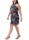 Frauen Etuikleid Chiffon ärmellos Vintage Paisley Print Halfter Drapierte Zipper Zurück Kleid