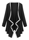 Women Long Sleeve Contrast Cardigan Open Front Asymmetric Cape Casual Poncho Coat