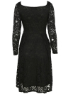 Floral Lace Long Sleeves Slash Neck A-Line Dress