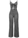 Women Spaghetti Strap Striped Lace Up Jumpsuit Romper