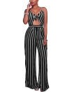 Mulheres Spaghetti Strap Striped Lace Up Jumpsuit Romper