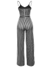 Frauen Spaghetti Strap Striped Lace Up Jumpsuit