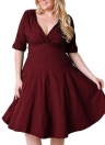 Sexy Women V Neck Solid Slim Ruched Elegant Party Swing Skater Dress