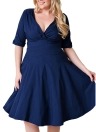 Sexy Women Plus Size Dress V Neck Meia manga Solid Slim Ruched Elegante Party Swing Skater Dress Grande tamanho Burgundy / Black / Dark Blue