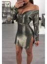 Mini vestido de fiesta casual con cuello en V de manga larga con cuello en V profundo metálico de mujer