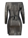 Women Metallic Cross Deep V-Neck Long Sleeve Belted Casual Party Mini Dress